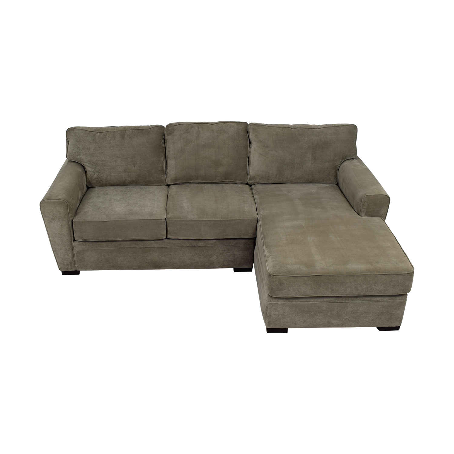 Raymour & Flanigan Raymour & Flanigan Grey Microsuede Chaise Sectional