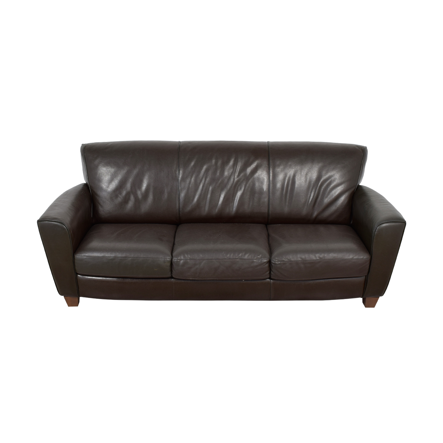 Natuzzi Natuzzi Brown Leather Three-Cushion Couch coupon
