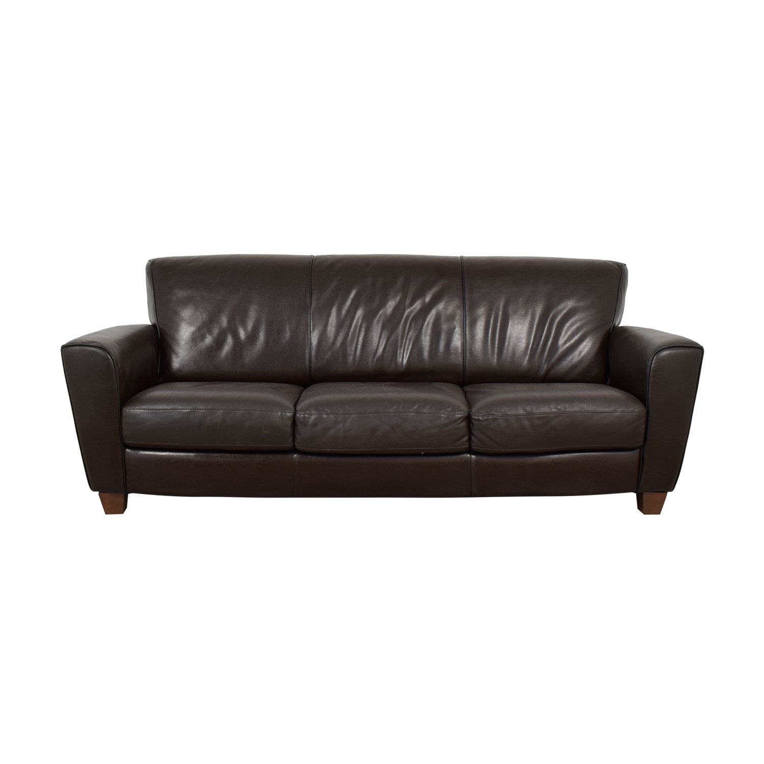 Natuzzi Brown Leather Three-Cushion Couch / Classic Sofas