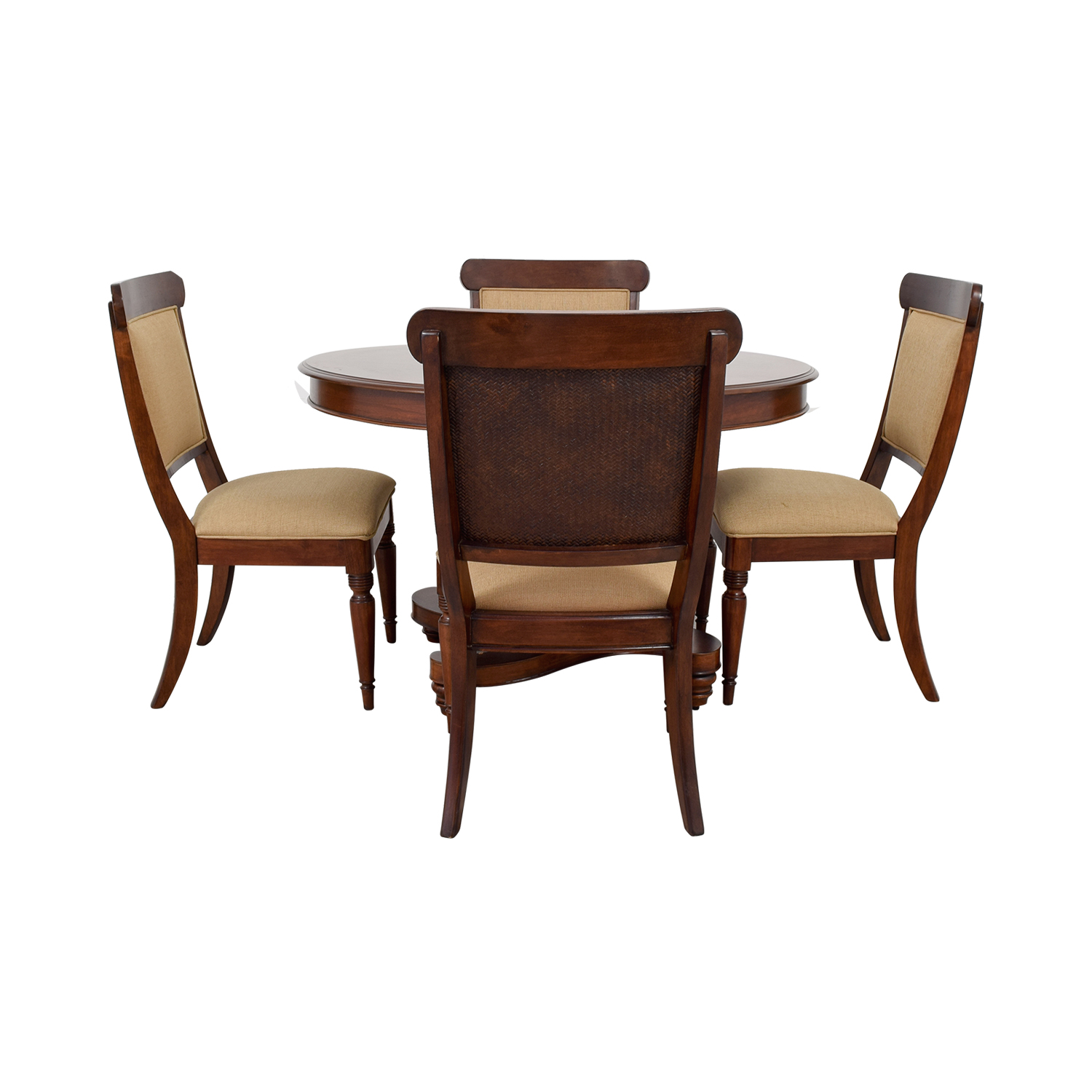Macy's Macy's Wood Extendable Dining Set with Upholstered Chairs dimensions