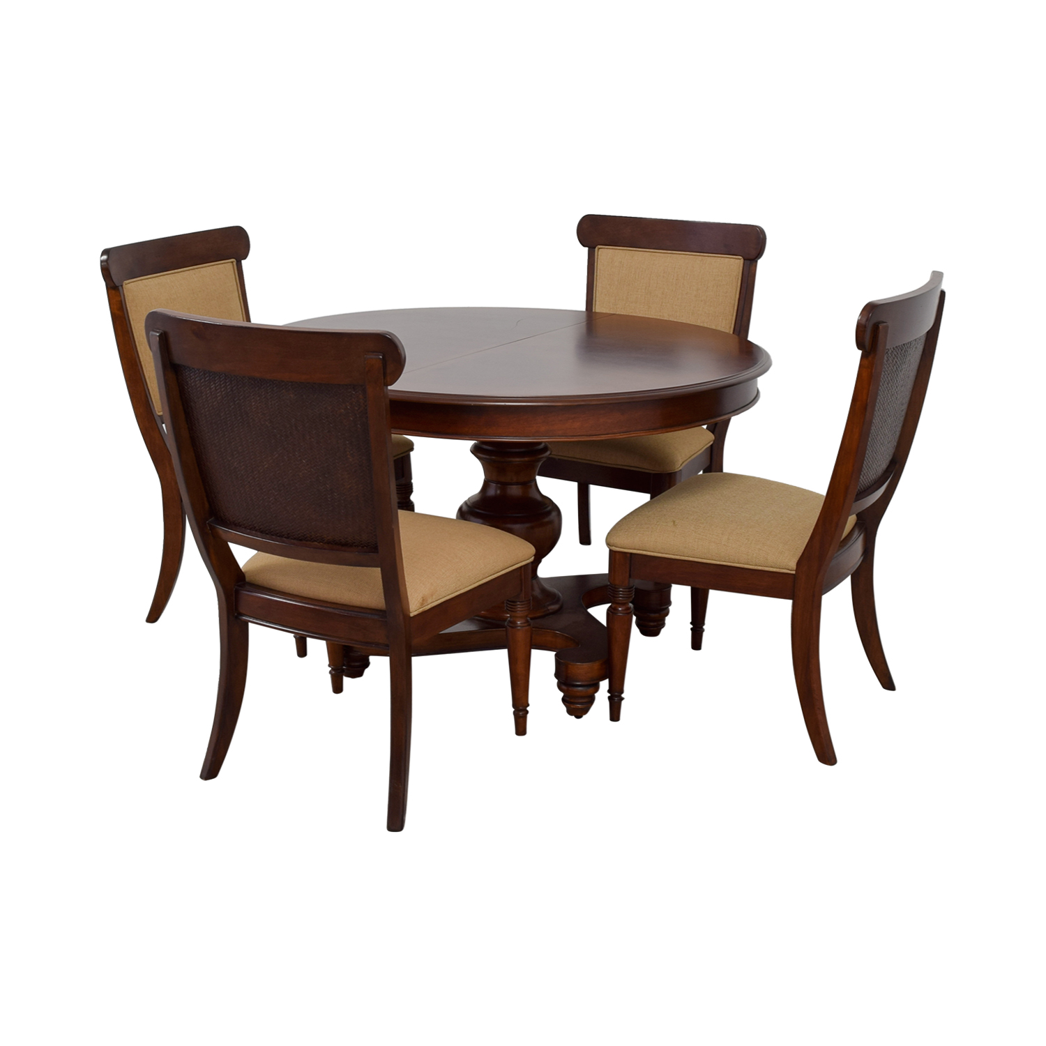 Macy's Wood Extendable Dining Set with Upholstered Chairs Macy's