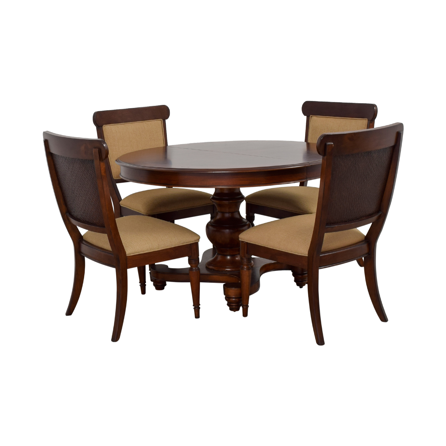 shop Macy's Wood Extendable Dining Set with Upholstered Chairs Macy's Dining Sets