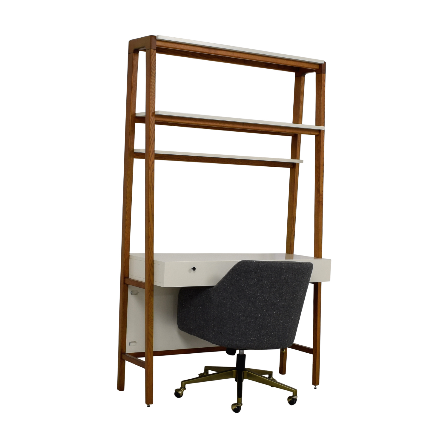 ... West Elm White And Wood Wall Desk And Chair / Home Office Desks ...
