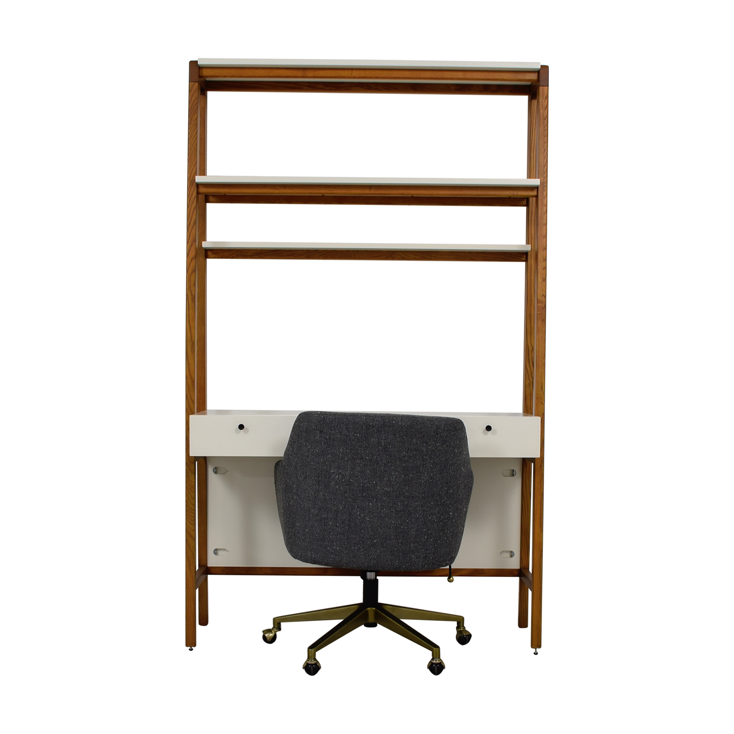 West Elm West Elm White and Wood Wall Desk and Chair nj