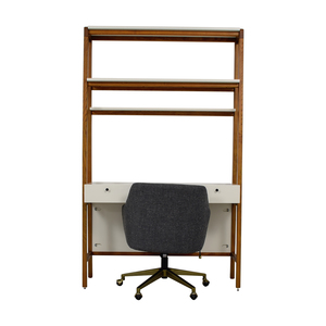 West Elm West Elm White and Wood Modern Wall Desk and Chair dimensions
