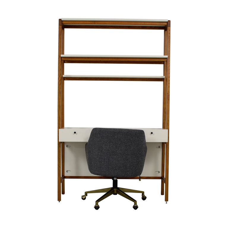 West Elm West Elm White and Wood Modern Wall Desk and Chair second hand