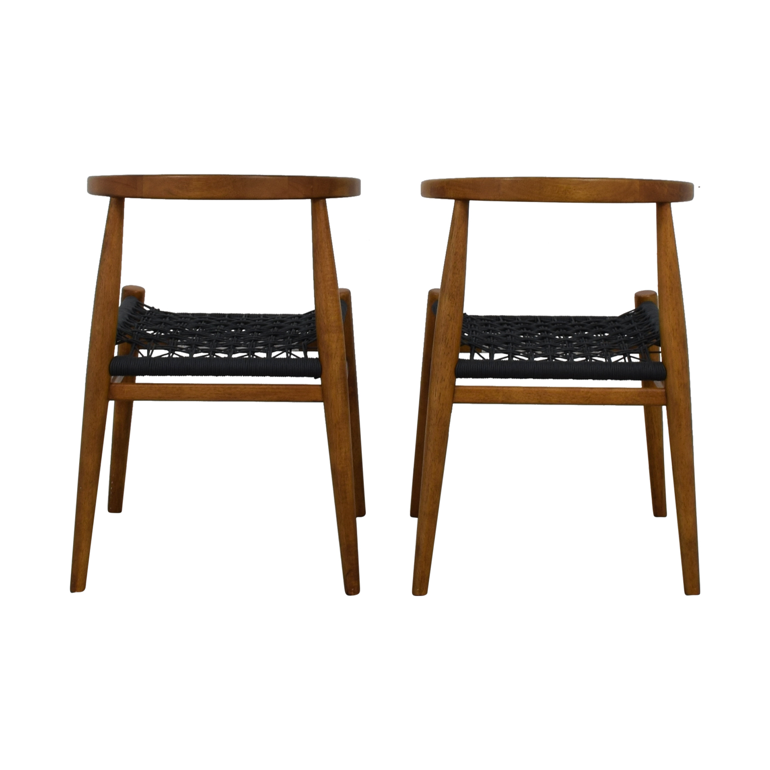West Elm West Elm Acorn Wood and Charcoal Rope Dining Chairs used