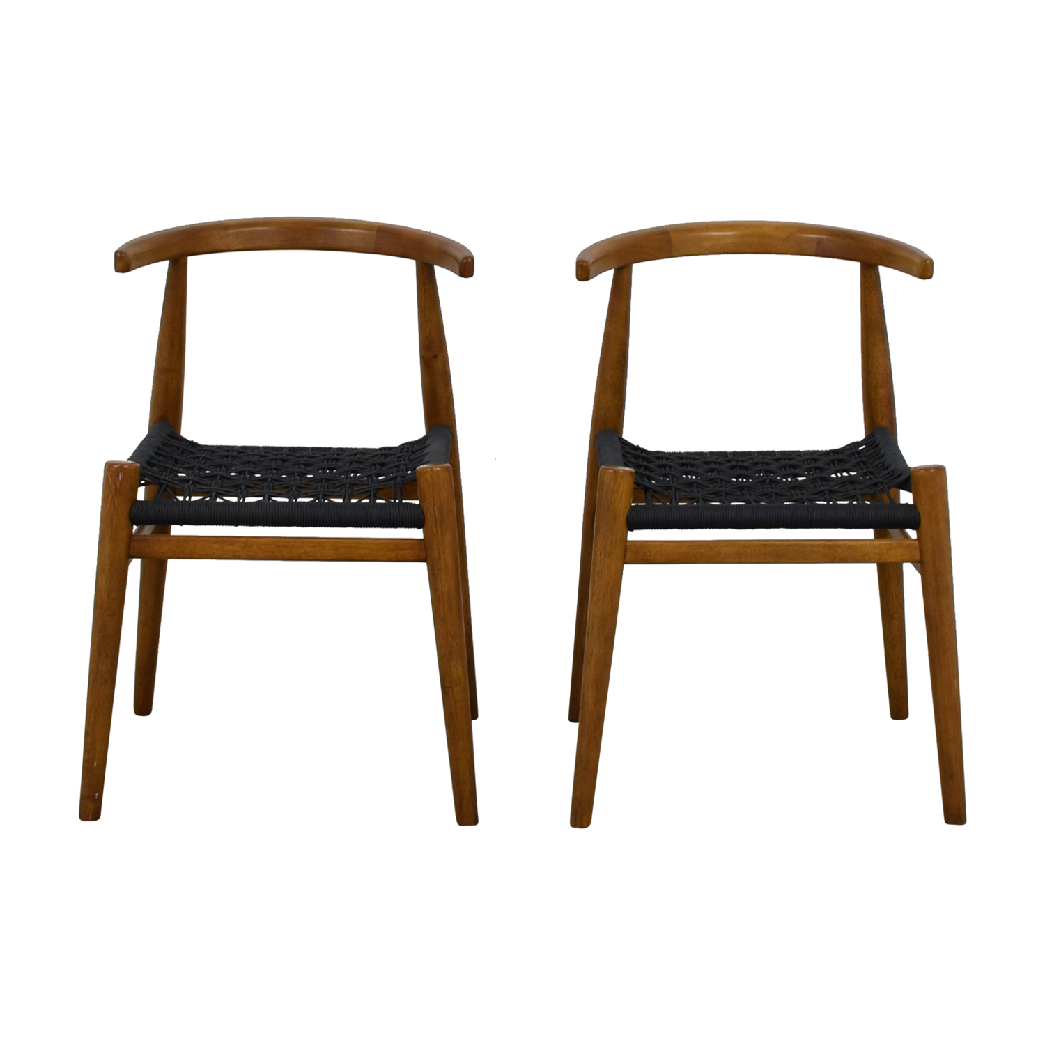 shop West Elm Acorn Wood and Charcoal Rope Dining Chairs West Elm Dining Chairs