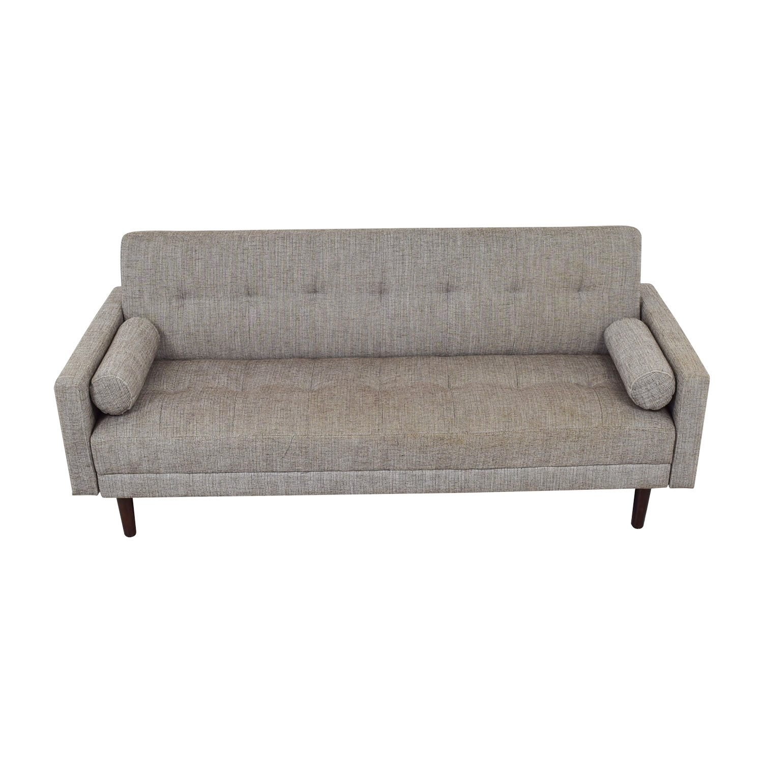 shop Urban Outfitters Grey Tufted Three-Cushion Convertible Sofa Urban Outfitters Sofas