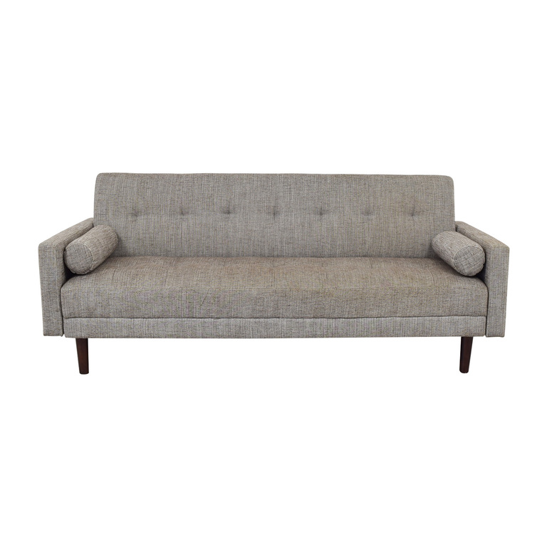 Urban Outfitters Urban Outfitters Grey Tufted Three-Cushion Convertible Sofa nj