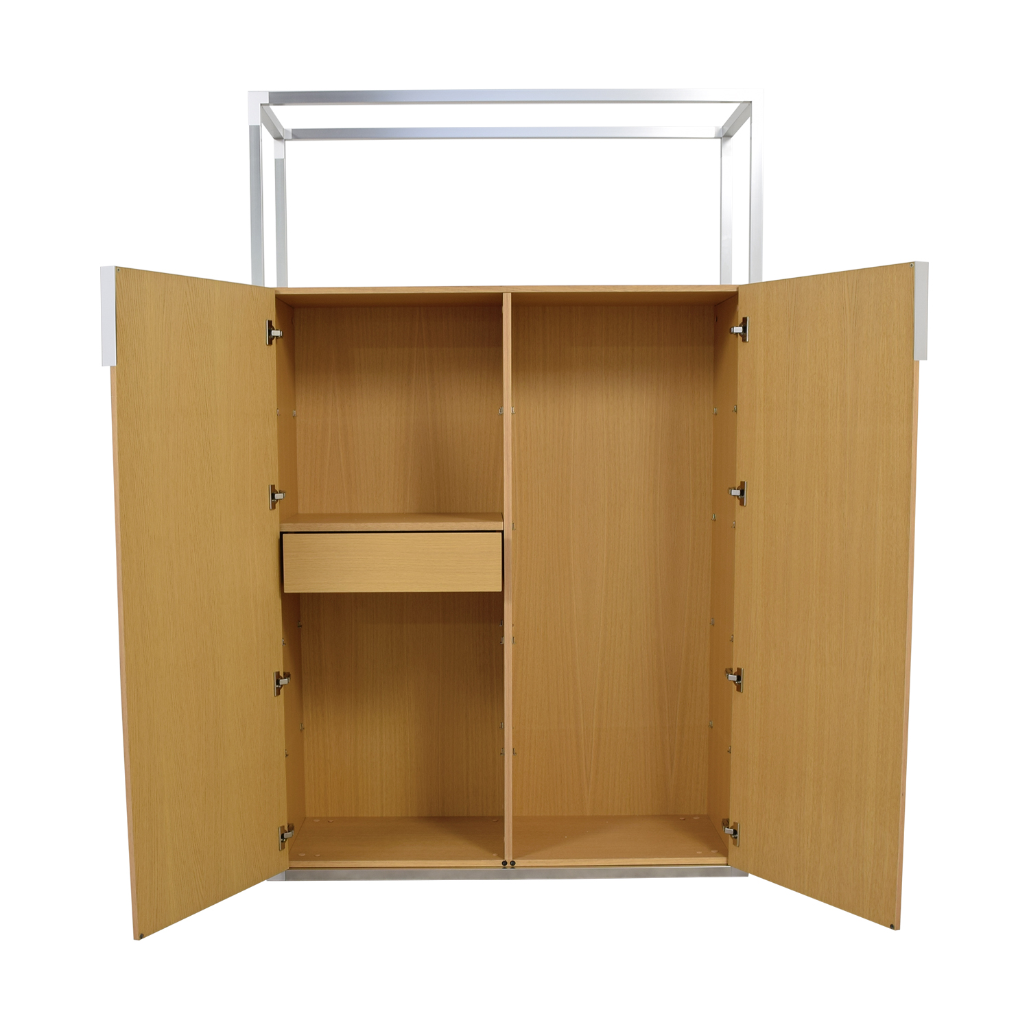 Ligne Roset Ligne Roset Wooden Wardrobe with Metal Top Frame nj