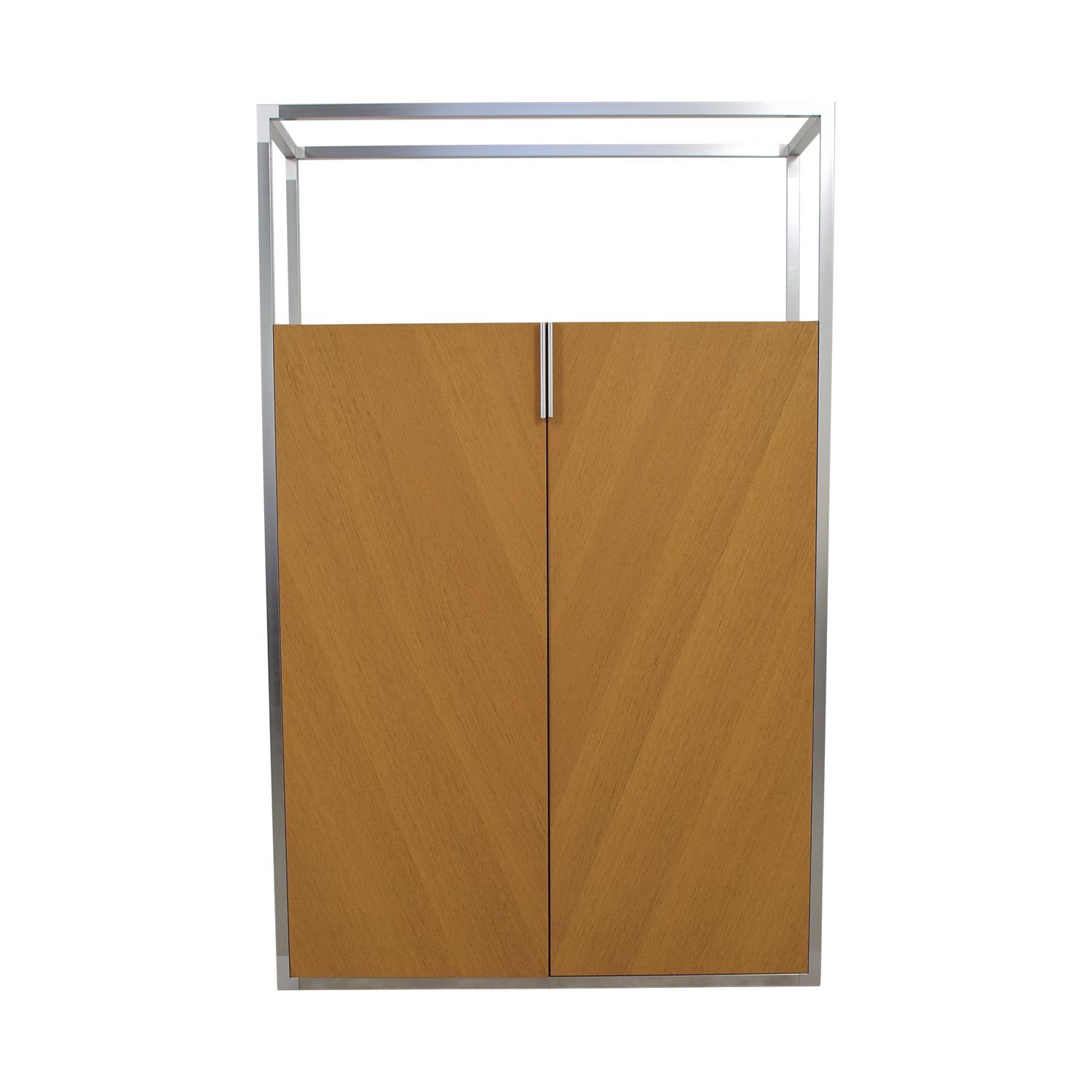 Ligne Roset Ligne Roset Wooden Wardrobe with Metal Top Frame
