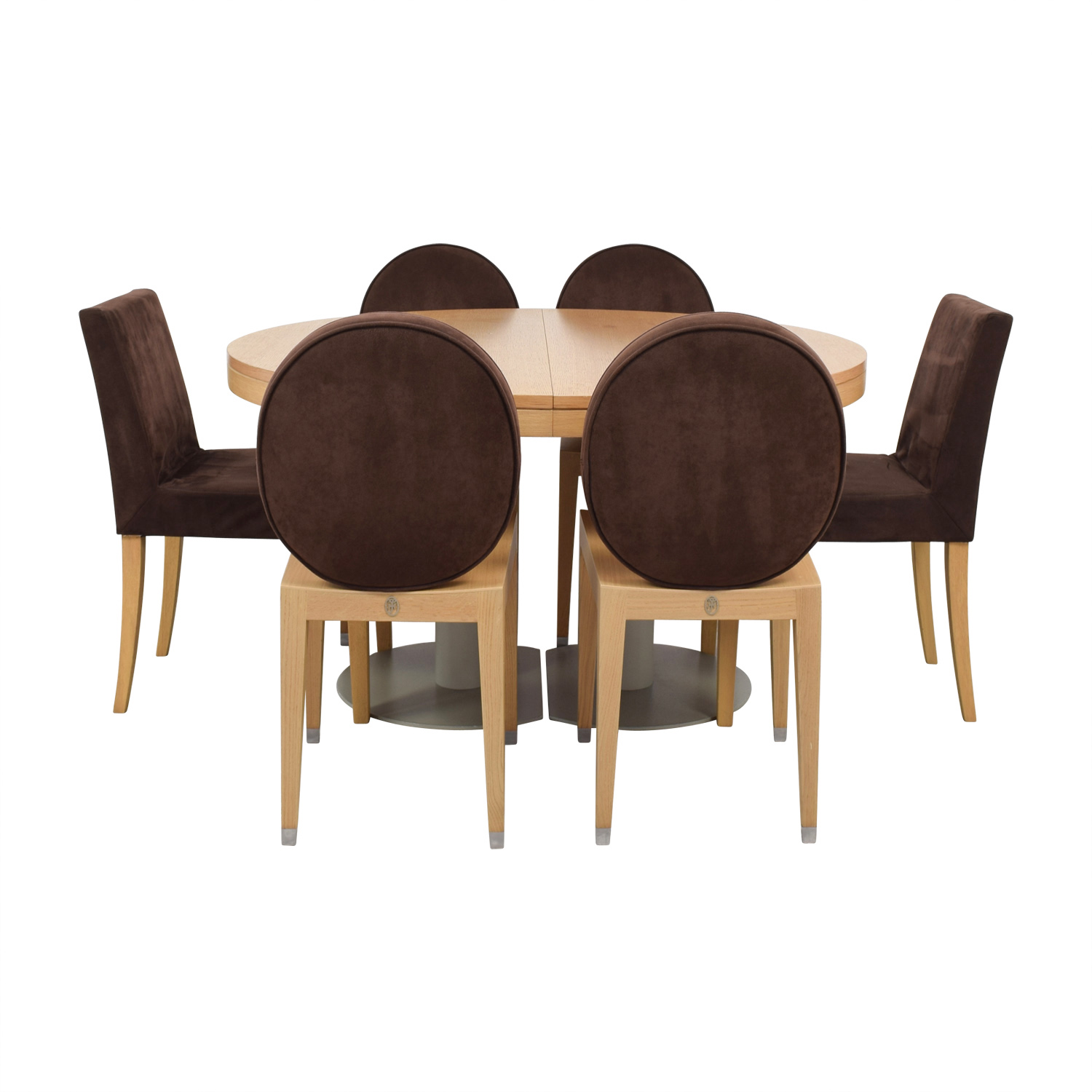 Ligne Roset Ligne Roset Natural Wood Extendable Dining Table with Chairs nj