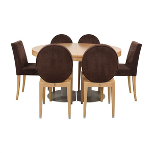Ligne Roset Ligne Roset Natural Wood Extendable Dining Table with Chairs used