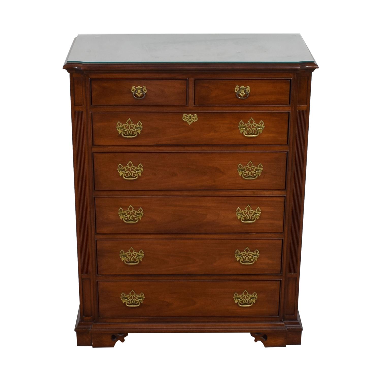 shop Thomasville Cherry Wood Seven-Drawer Tall Boy Dresser Thomasville Dressers