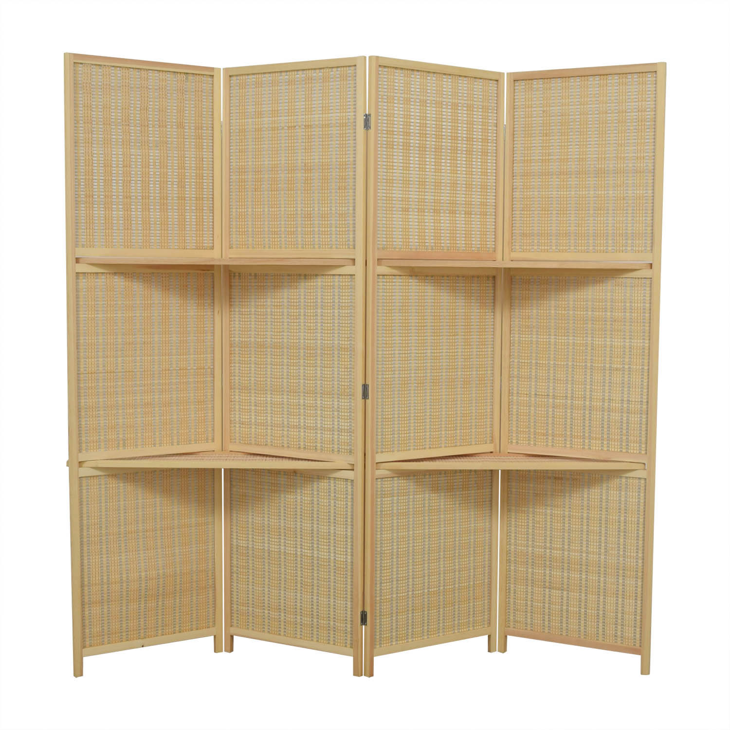 buy MyGift MyGift Woven Bamboo Four Panel Divider Screen w/Removable Storage Shelves online