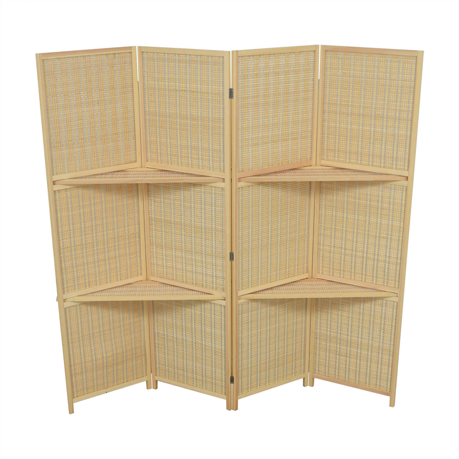 MyGift Woven Bamboo Four Panel Divider Screen w/Removable Storage Shelves sale