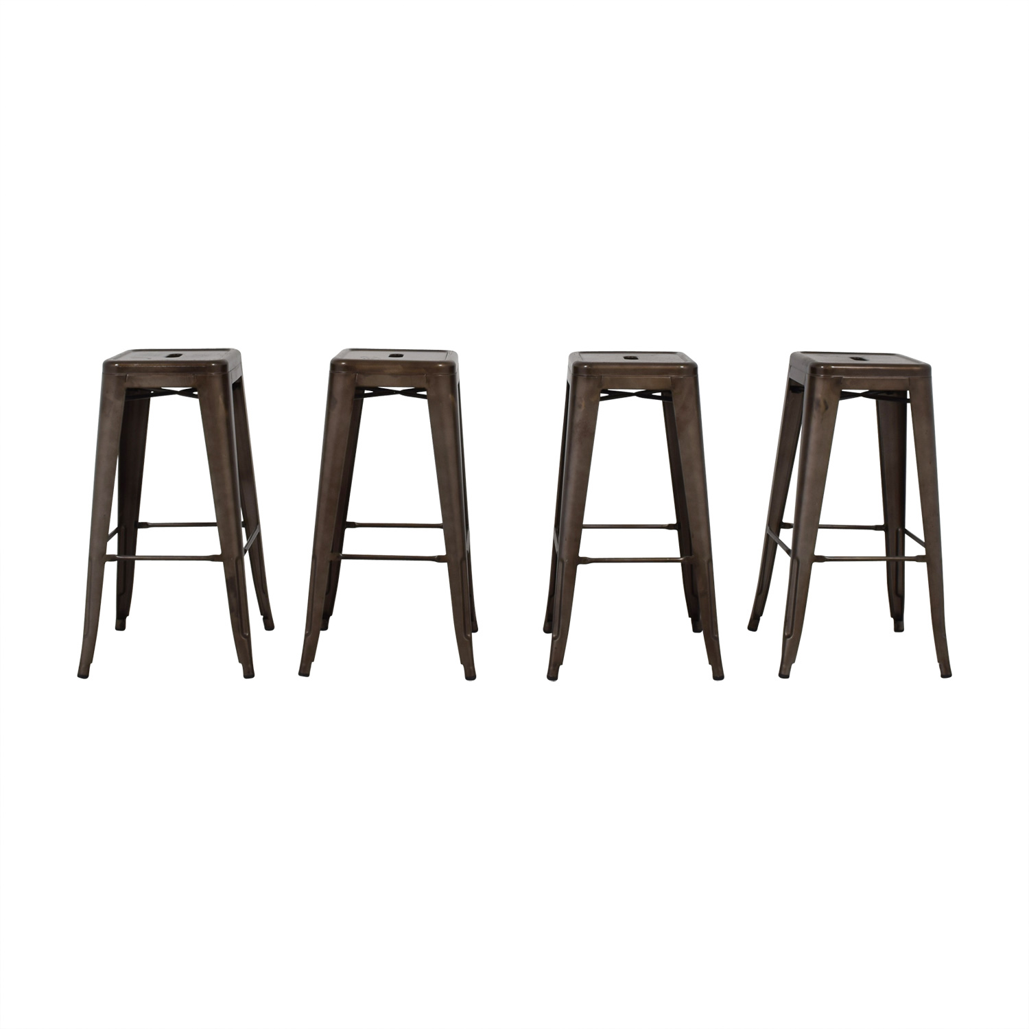 Tabouret-Style Industrial Rustic Distressed Metal Bar Stools