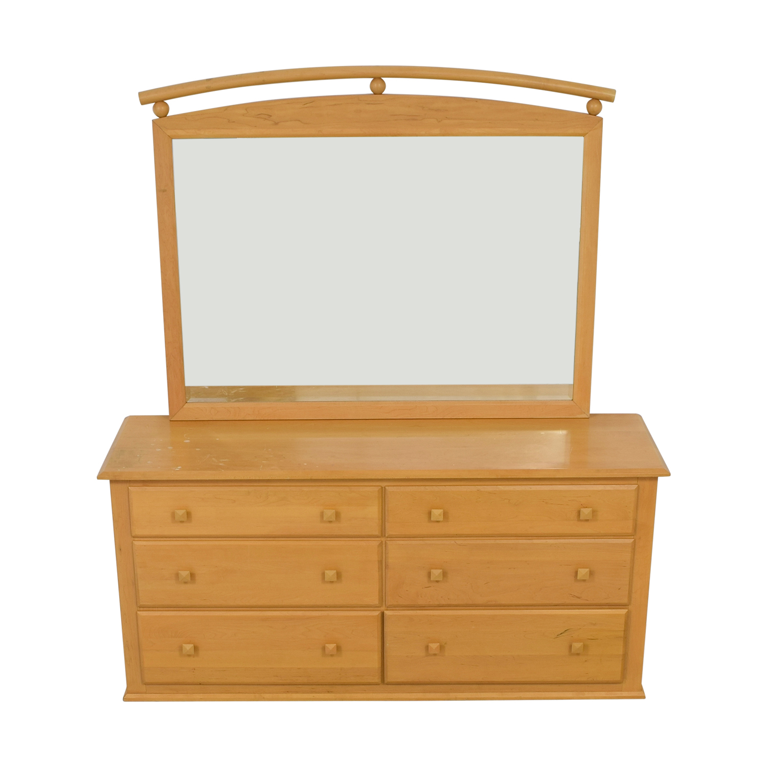Ethan Allen American Dimensions Natural Six-Drawer Dresser with Mirror / Storage