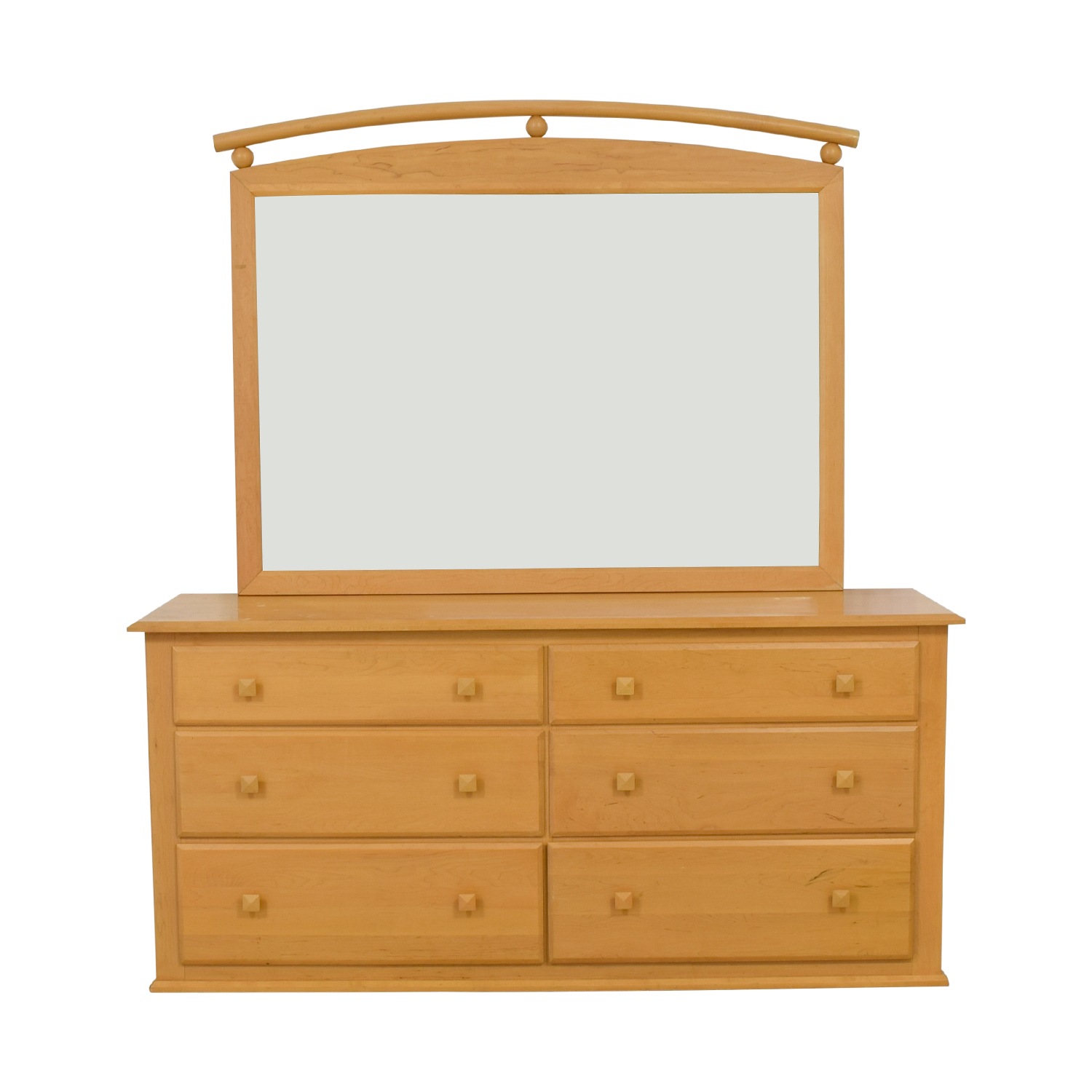 shop Ethan Allen American Dimensions Natural Six-Drawer Dresser with Mirror Ethan Allen