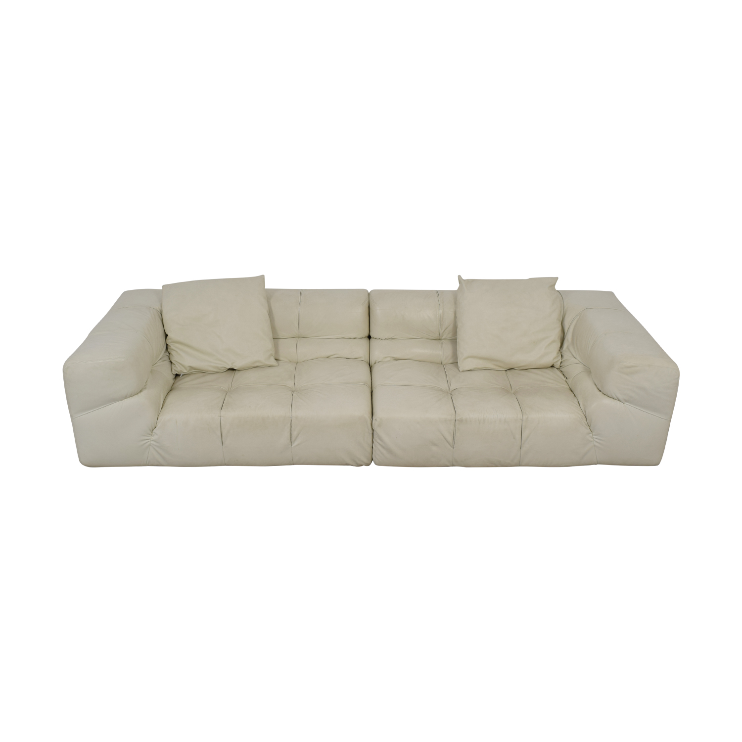 Ligne Roset Ligne Roset White Tufted Leather Couch nyc