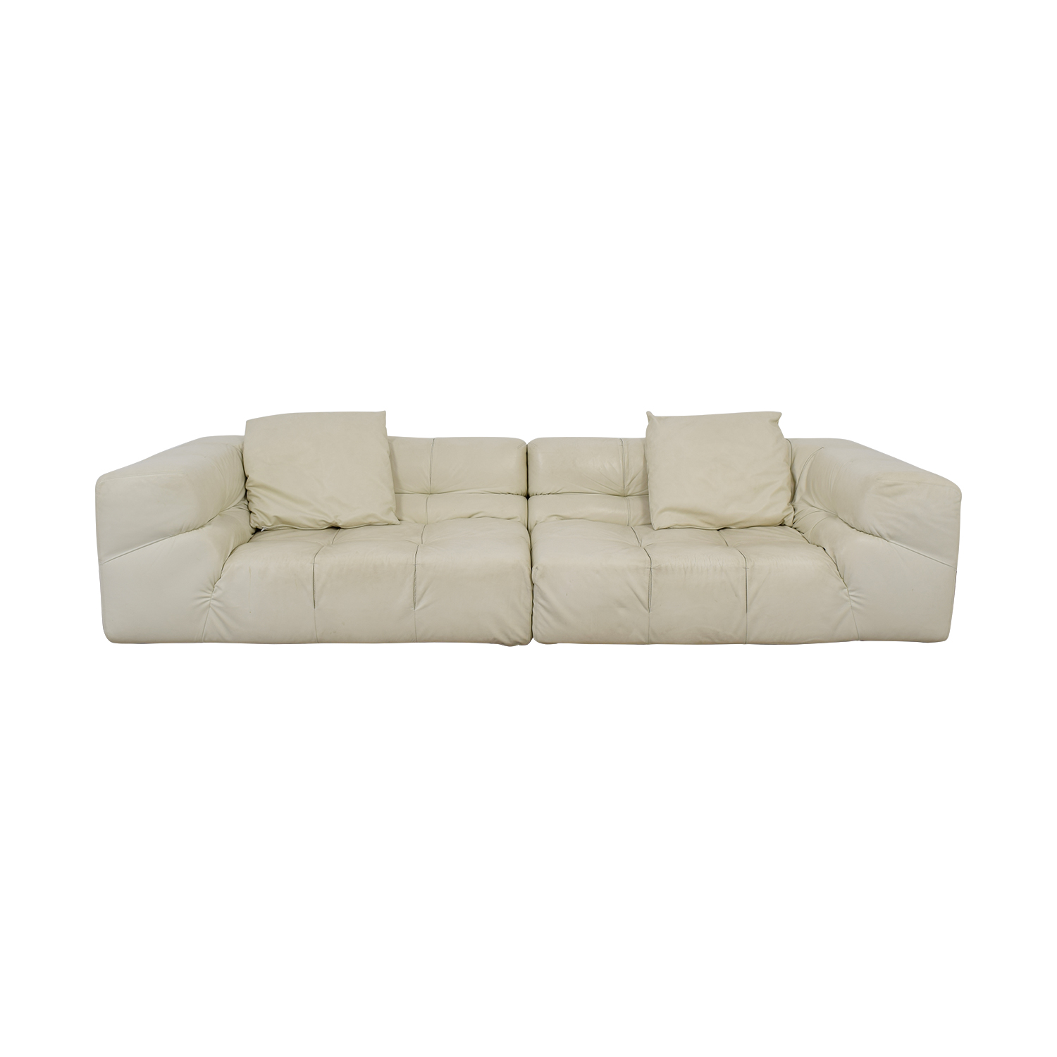 Ligne Roset Ligne Roset White Tufted Leather Couch discount