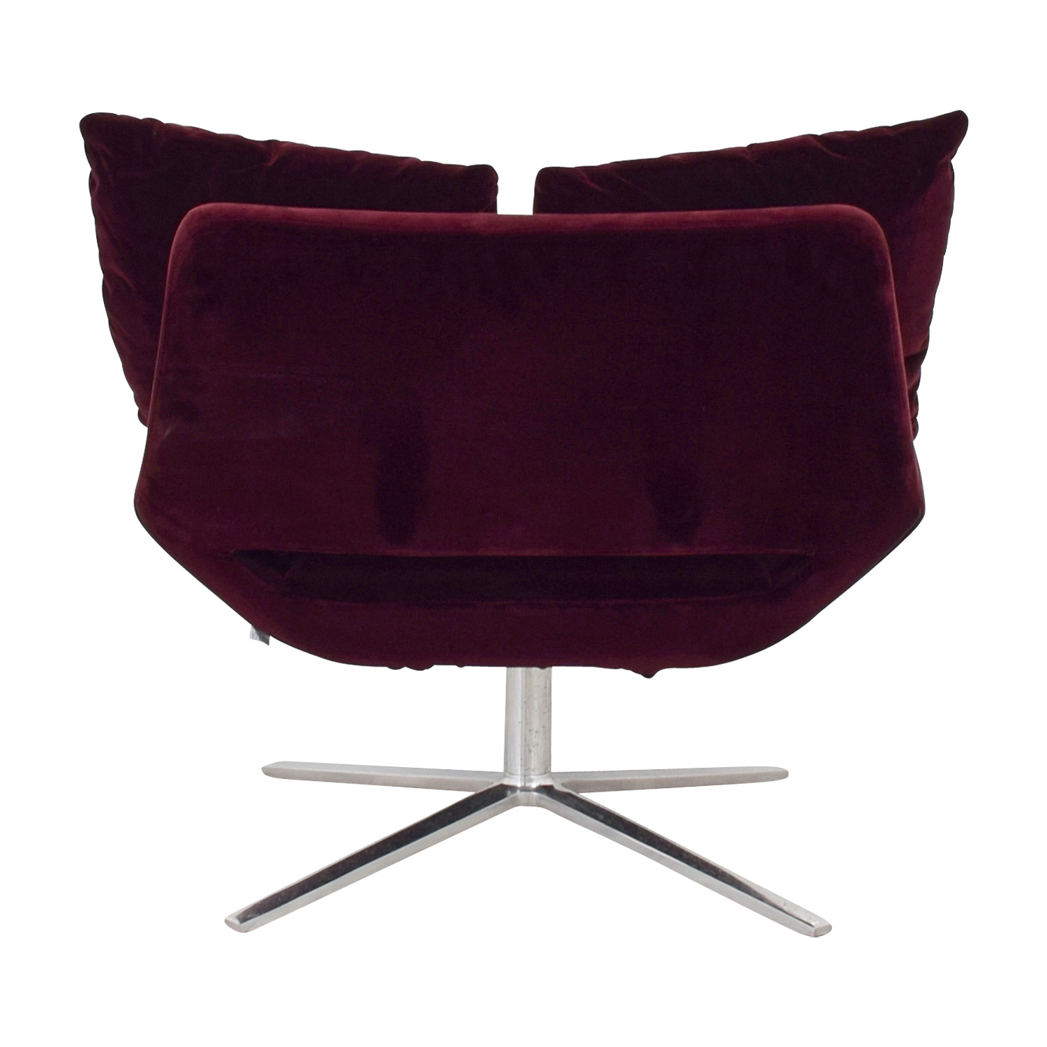 Ligne Roset Ligne Roset Burgundy Velvet Swivel Chair