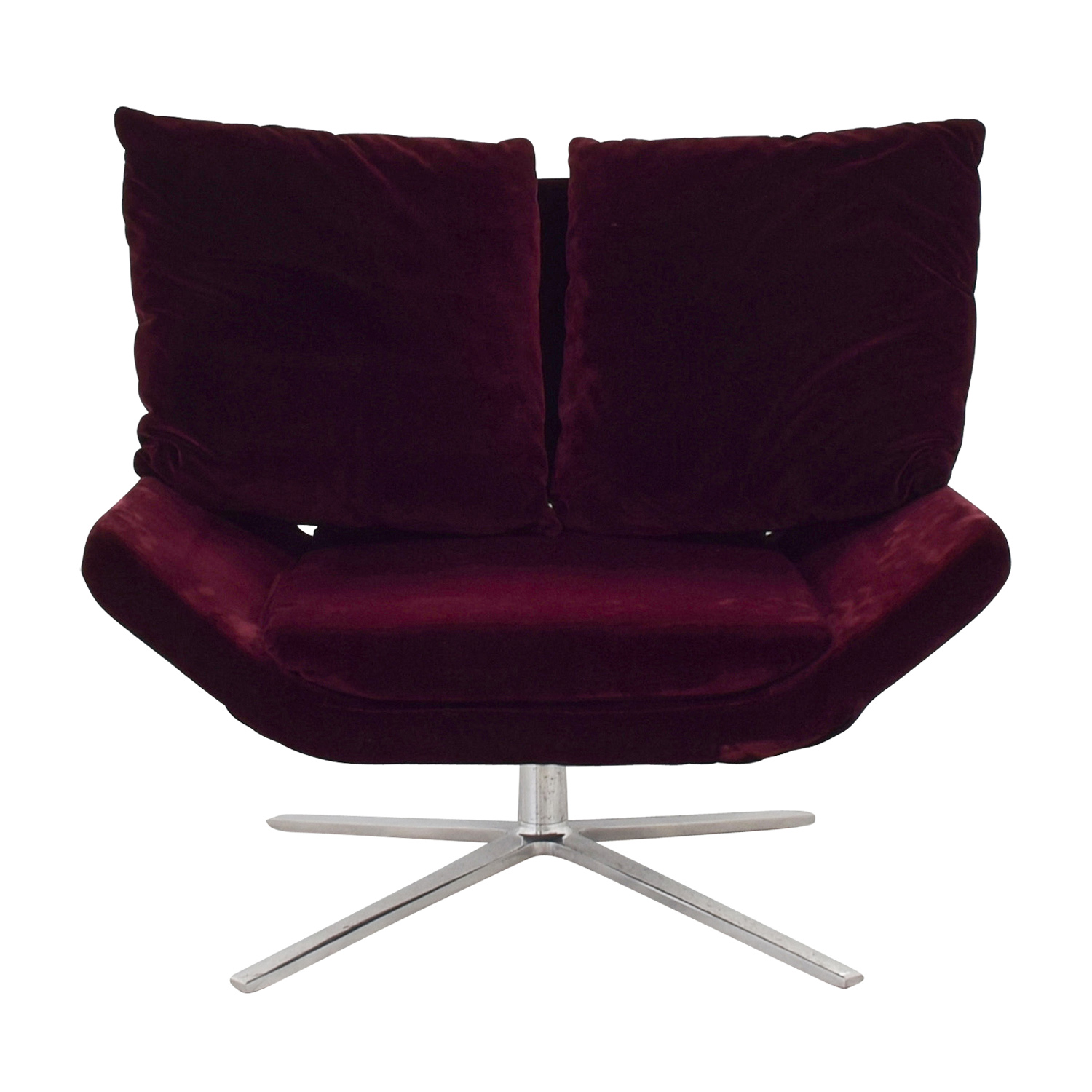 shop Ligne Roset Ligne Roset Burgundy Velvet Swivel Chair online