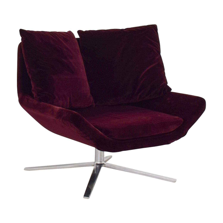 ... Ligne Roset Ligne Roset Burgundy Velvet Swivel Chair Second Hand ...