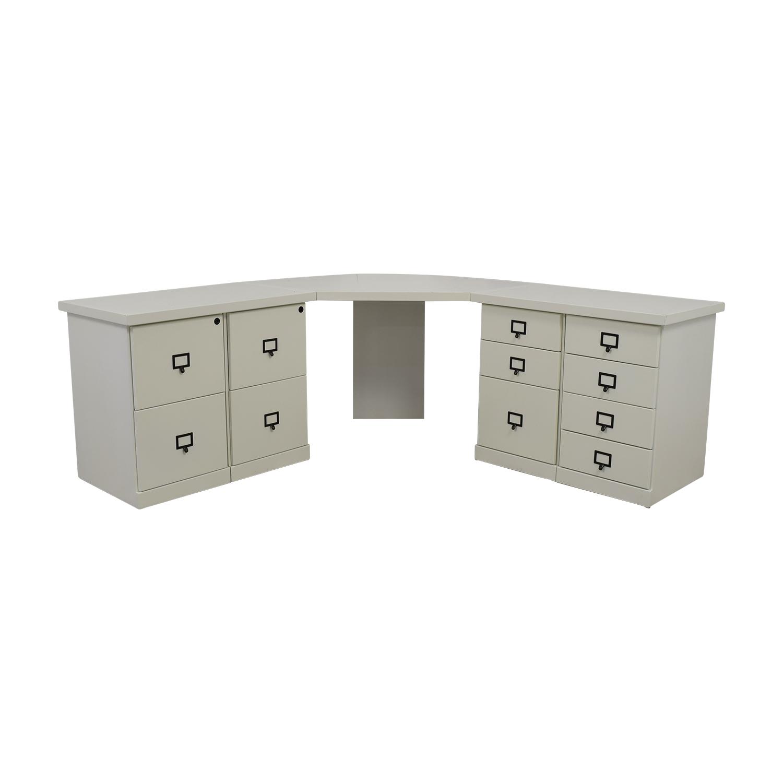 87% OFF - Ballard Designs Ballard Designs White Corner Desk with Drawers /  Tables