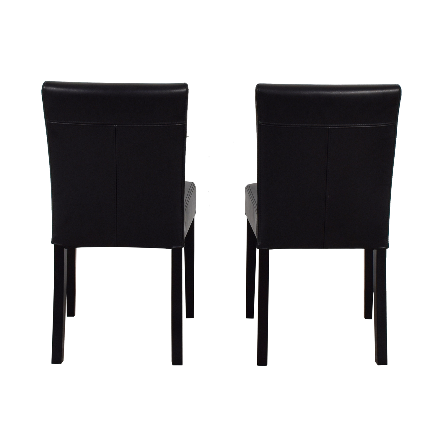 Crate & Barrel Crate & Barrel Lowe Black Leather Dining Chairs nj