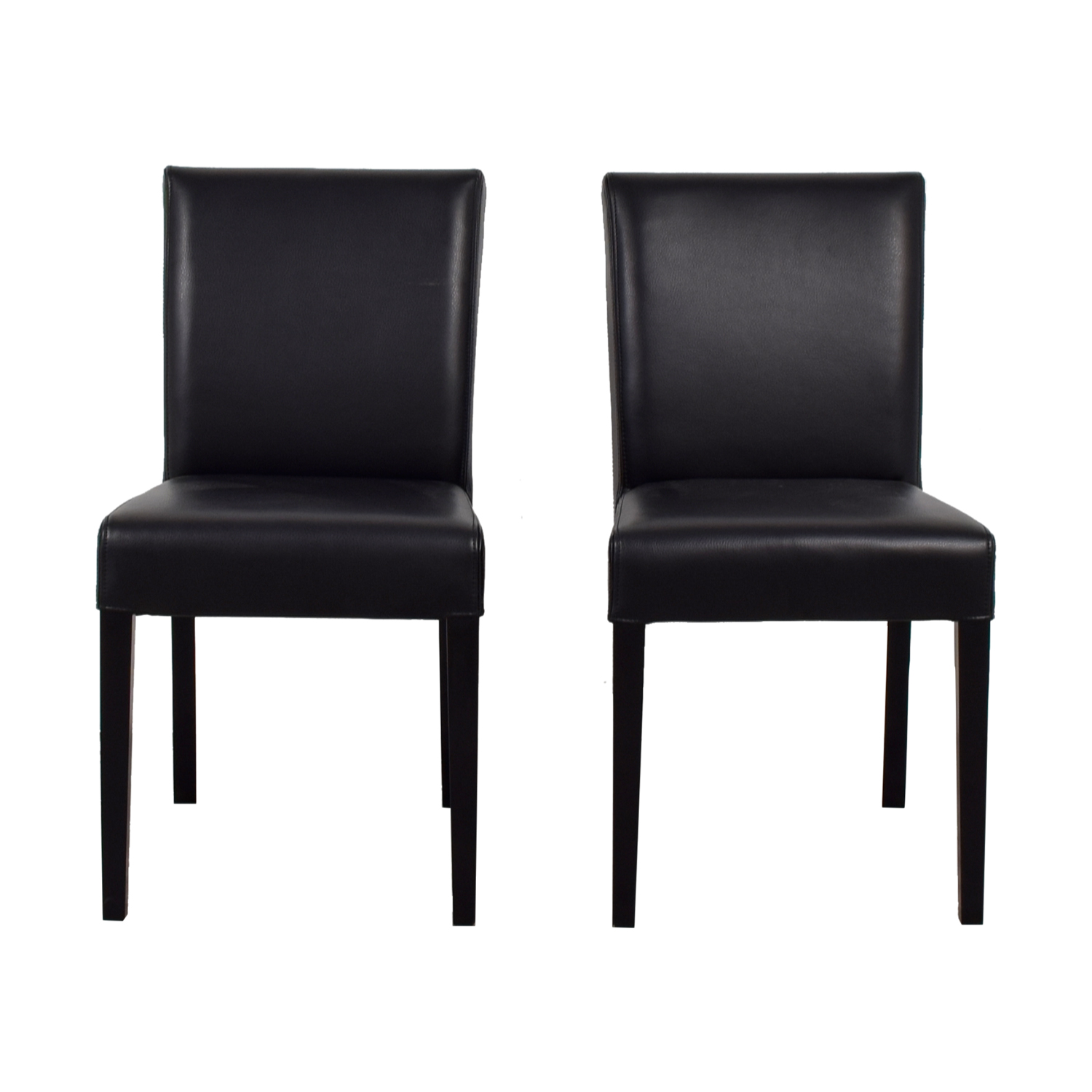 Crate & Barrel Crate & Barrel Lowe Black Leather Dining Chairs second hand