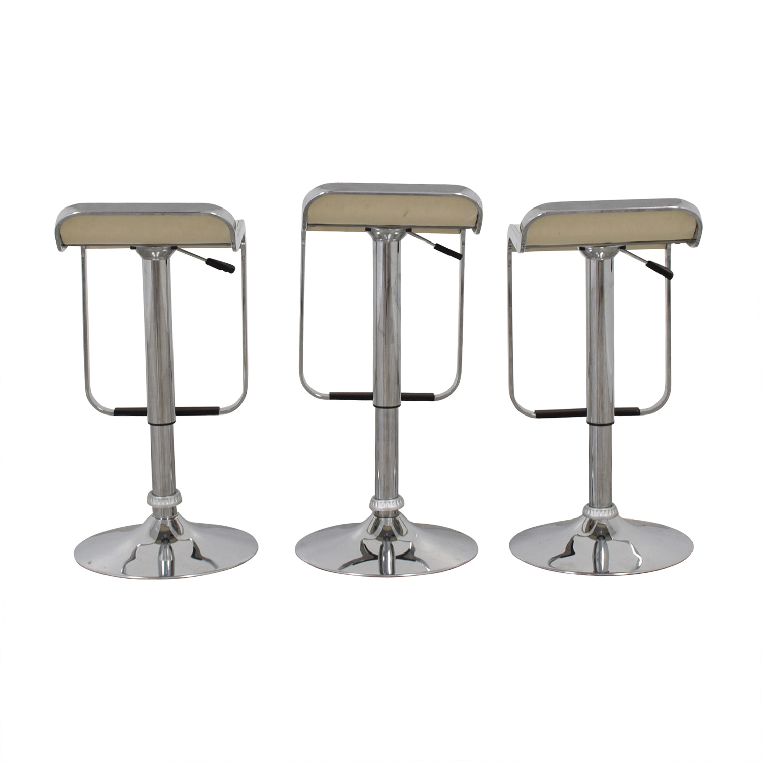 Pottery Barn Pottery Barn White and Chrome Stools dimensions