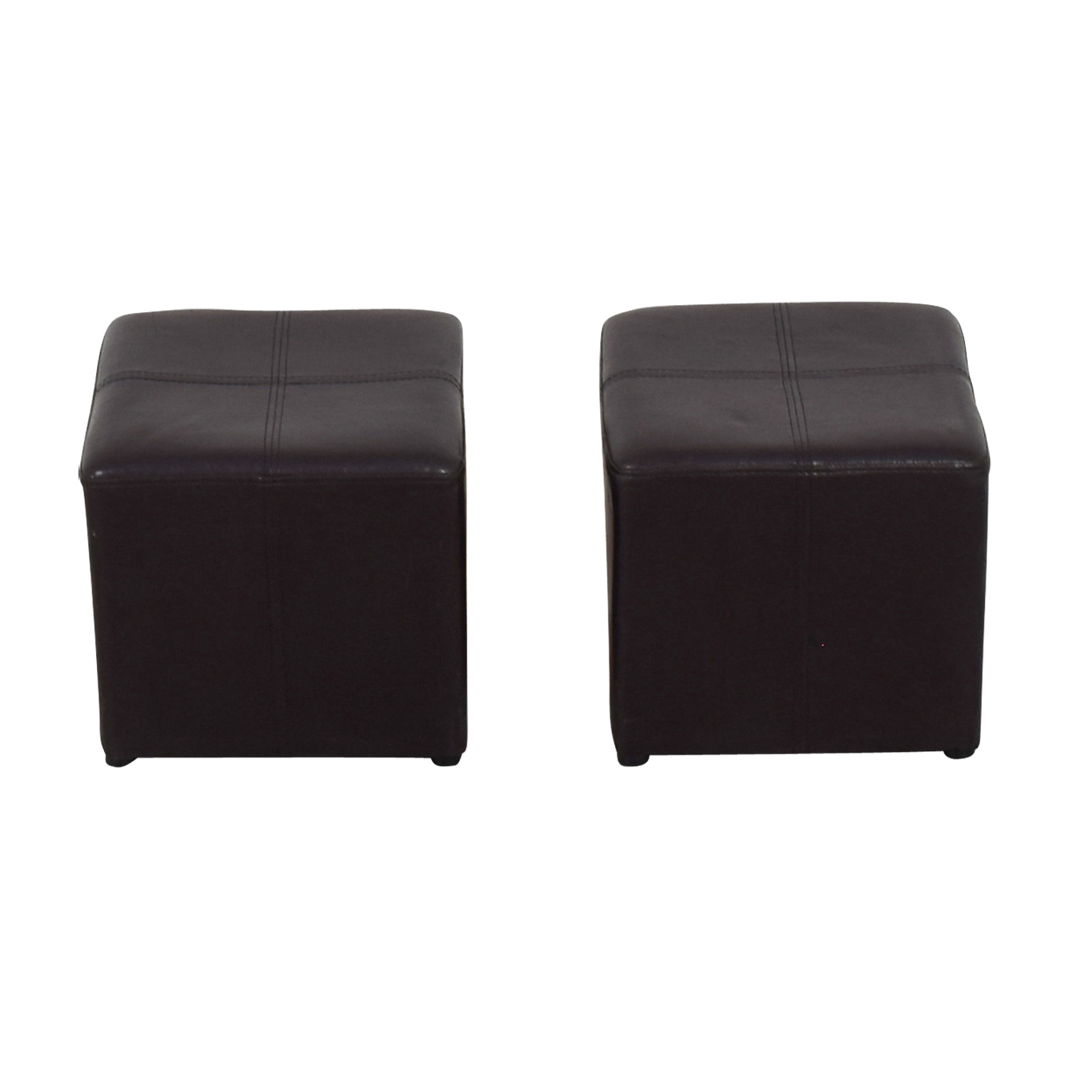 Brown Leather Stools / Ottomans