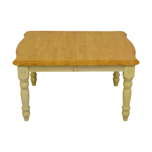 Limahsoon Limahsoon Cream Distressed Wood Top Dining Table second hand