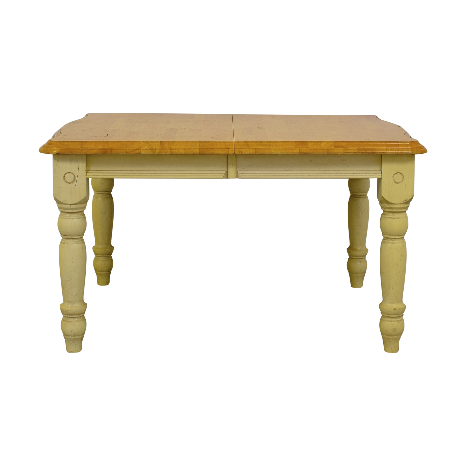 Limahsoon Limahsoon Cream Distressed Wood Top Dining Table used