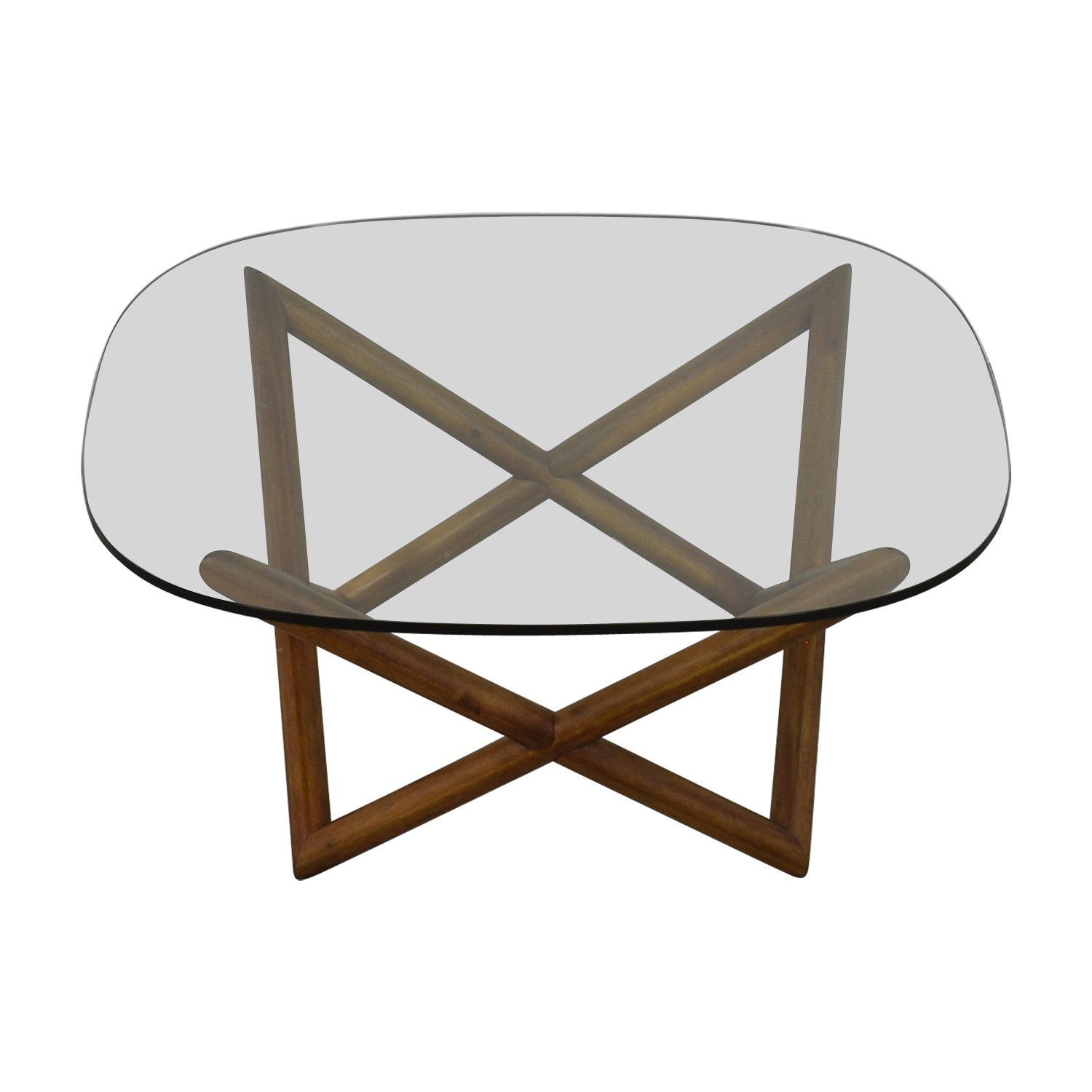 shop West Elm Round Glass and Wood Coffee Table West Elm