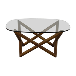 shop West Elm West Elm Round Glass and Wood Coffee Table online