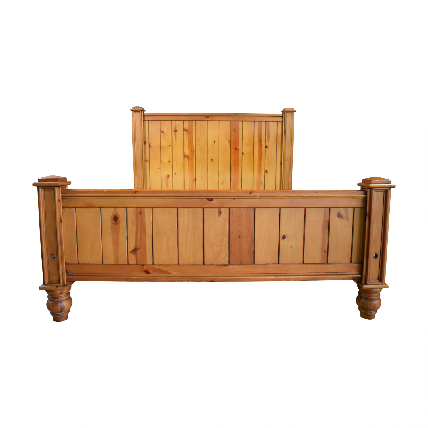 Crate & Barrel Crate & Barrel Rustic Wood Queen Bed Frame for sale