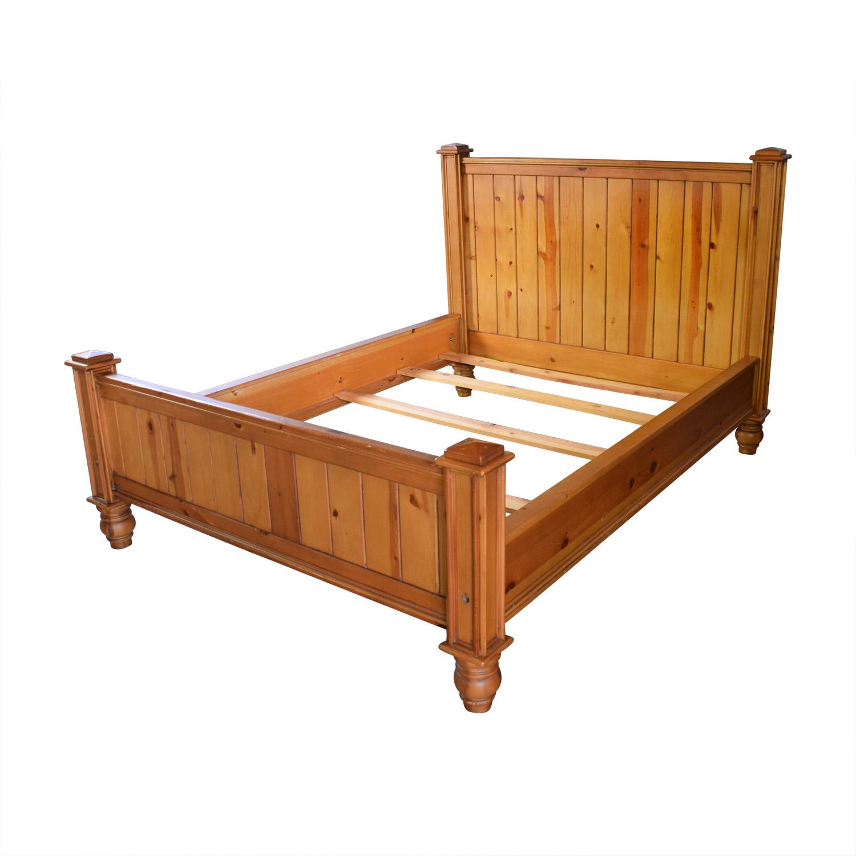 80 off crate barrel crate barrel rustic wood queen bed frame beds. Black Bedroom Furniture Sets. Home Design Ideas