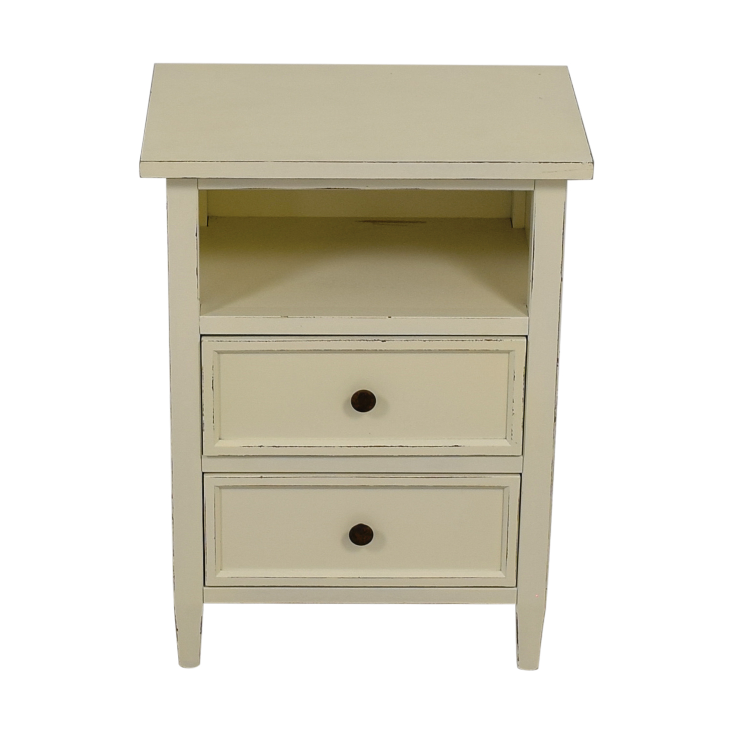 Crate & Barrel Crate & Barrel Harbor Dama White Two-Drawer Nightstand