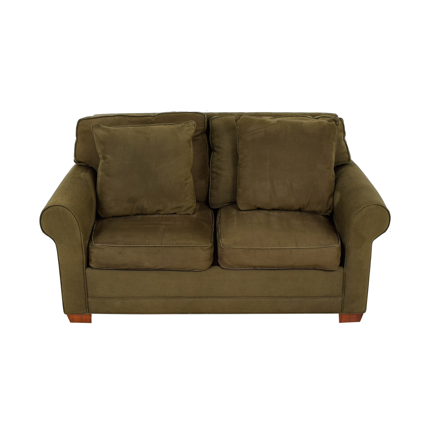 Raymour & Flanigan Raymour & Flanigan Brown Suede Two-Cushion Loveseat on sale