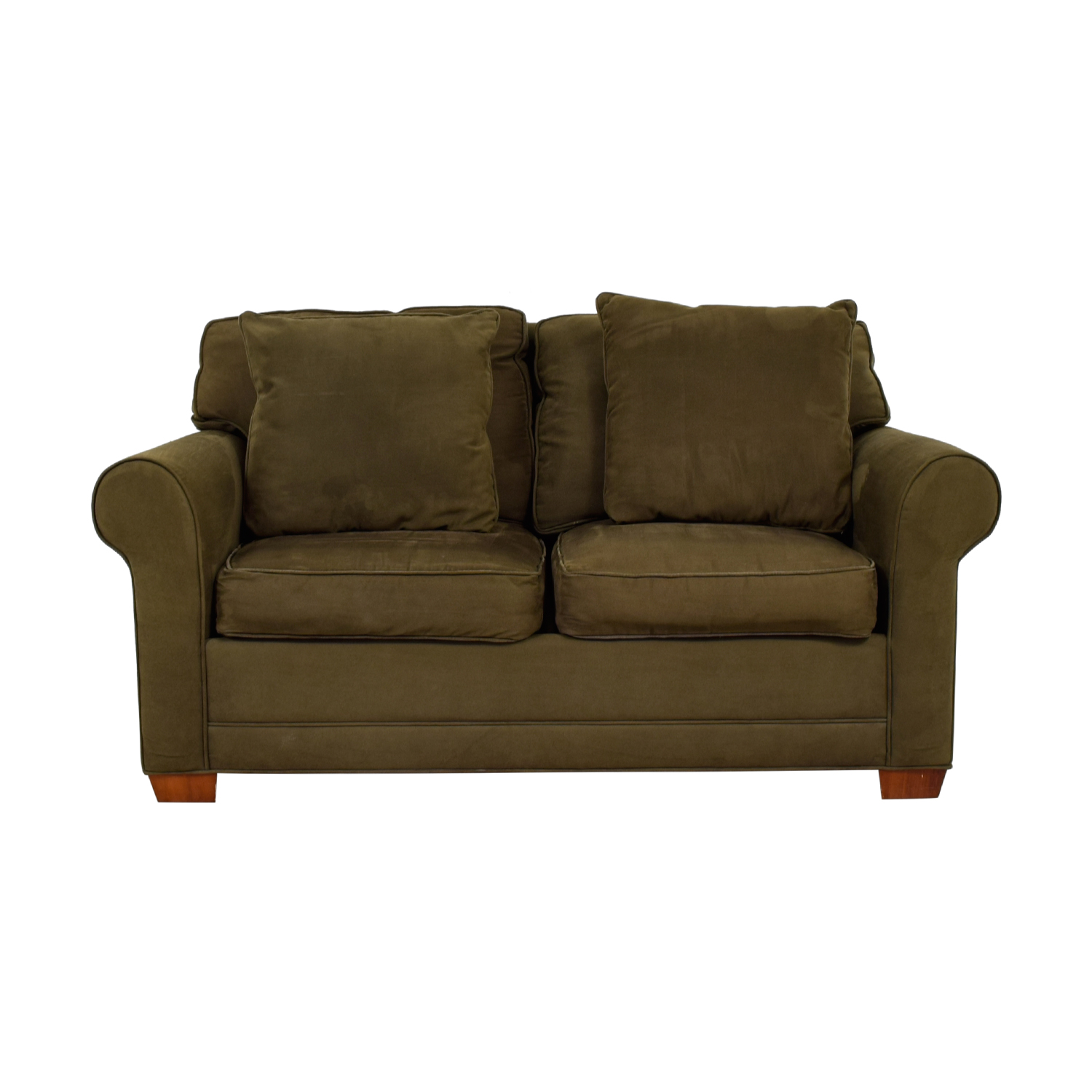buy Raymour & Flanigan Brown Suede Two-Cushion Loveseat Raymour & Flanigan Sofas