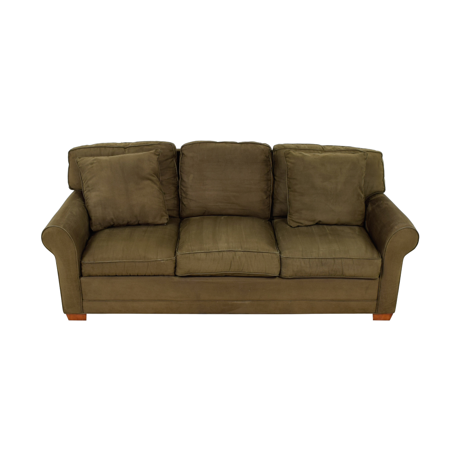 Raymour & Flanigan Raymour & Flanigan Brown  Suede Three-Cushion Couch for sale