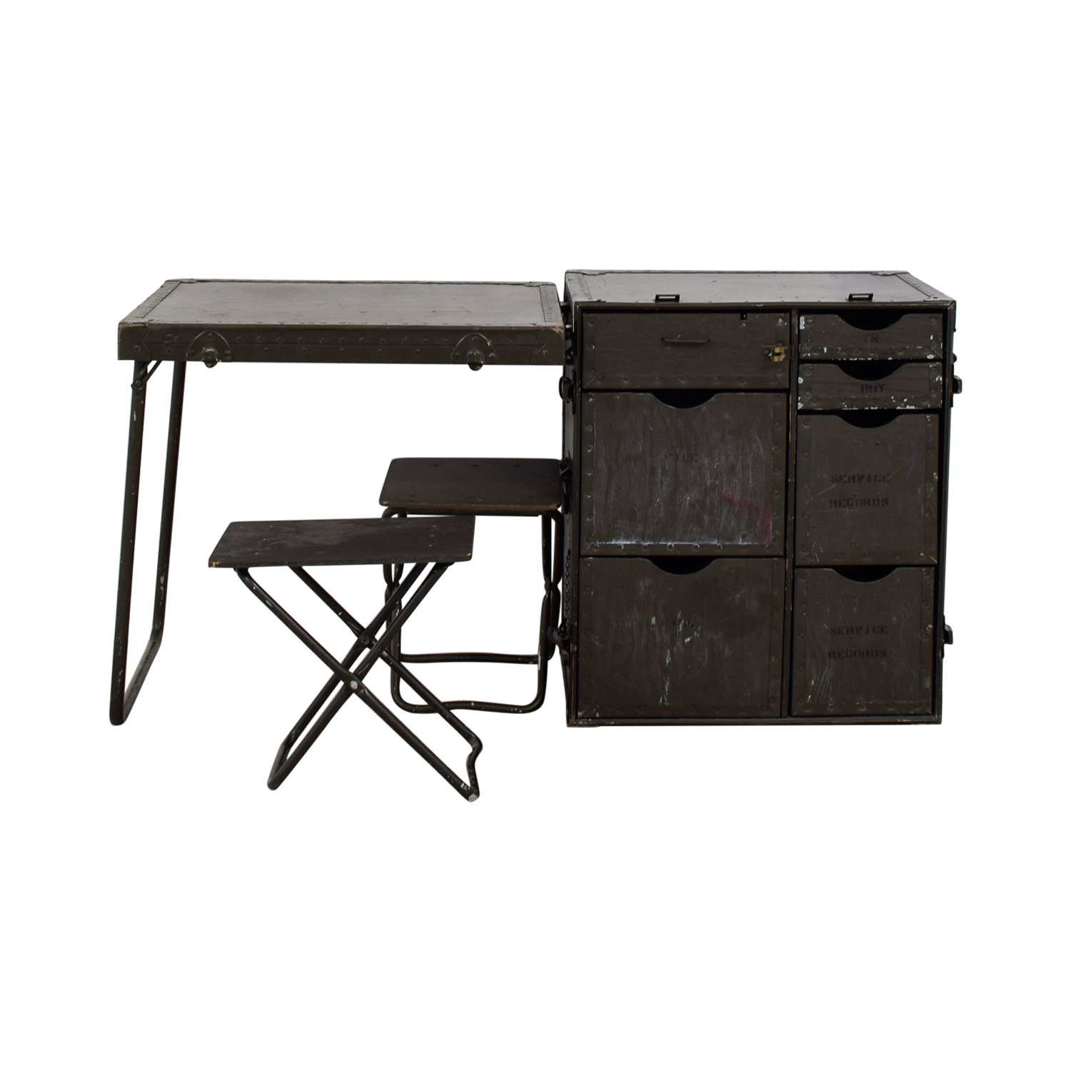 Vintage Brown Military Fold Out Desk for sale