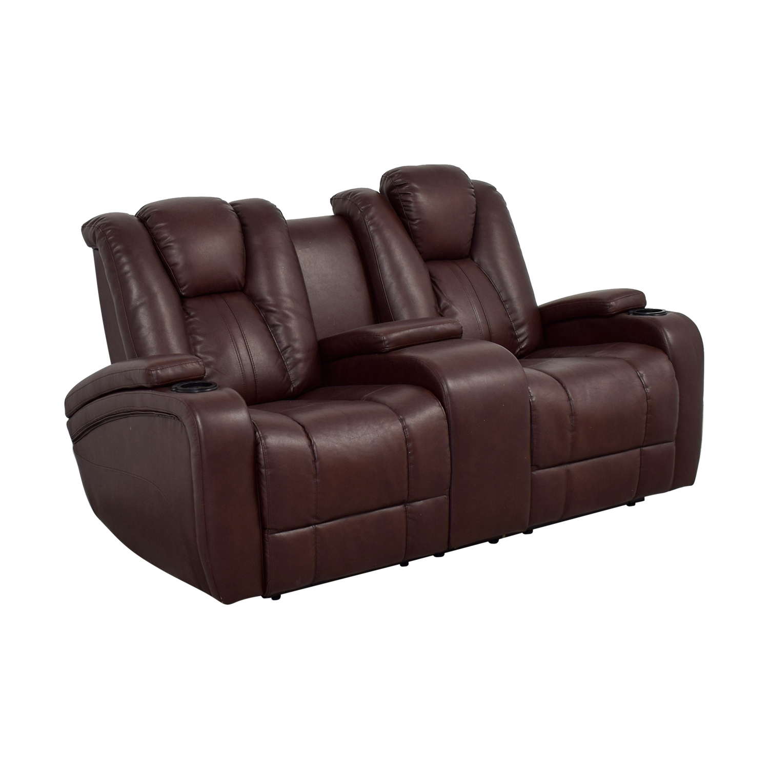 Strange 76 Off Bobs Discount Furniture Bobs Furniture Brown Power Dual Reclining Console Loveseat Sofas Customarchery Wood Chair Design Ideas Customarcherynet