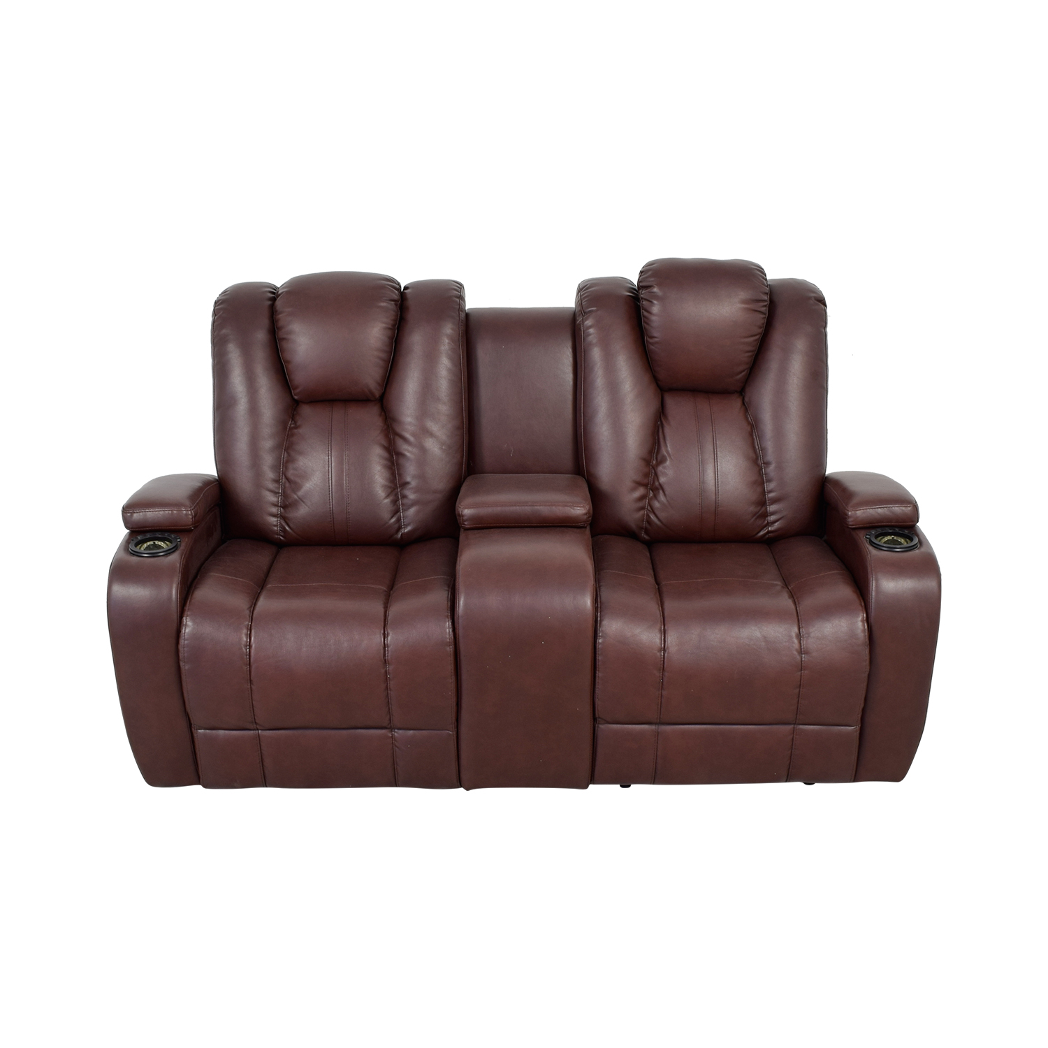 Bob's Furniture Bob's Furniture Brown Power Dual Reclining Console Loveseat for sale