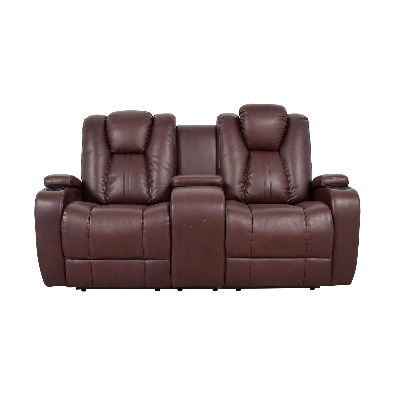 Bob's Furniture Bob's Furniture Brown Power Dual Reclining Console Loveseat price