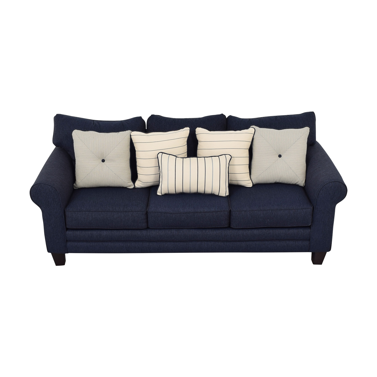 Raymour & Flanigan Raymour & Flanigan Navy Three-Cushion Sofa price