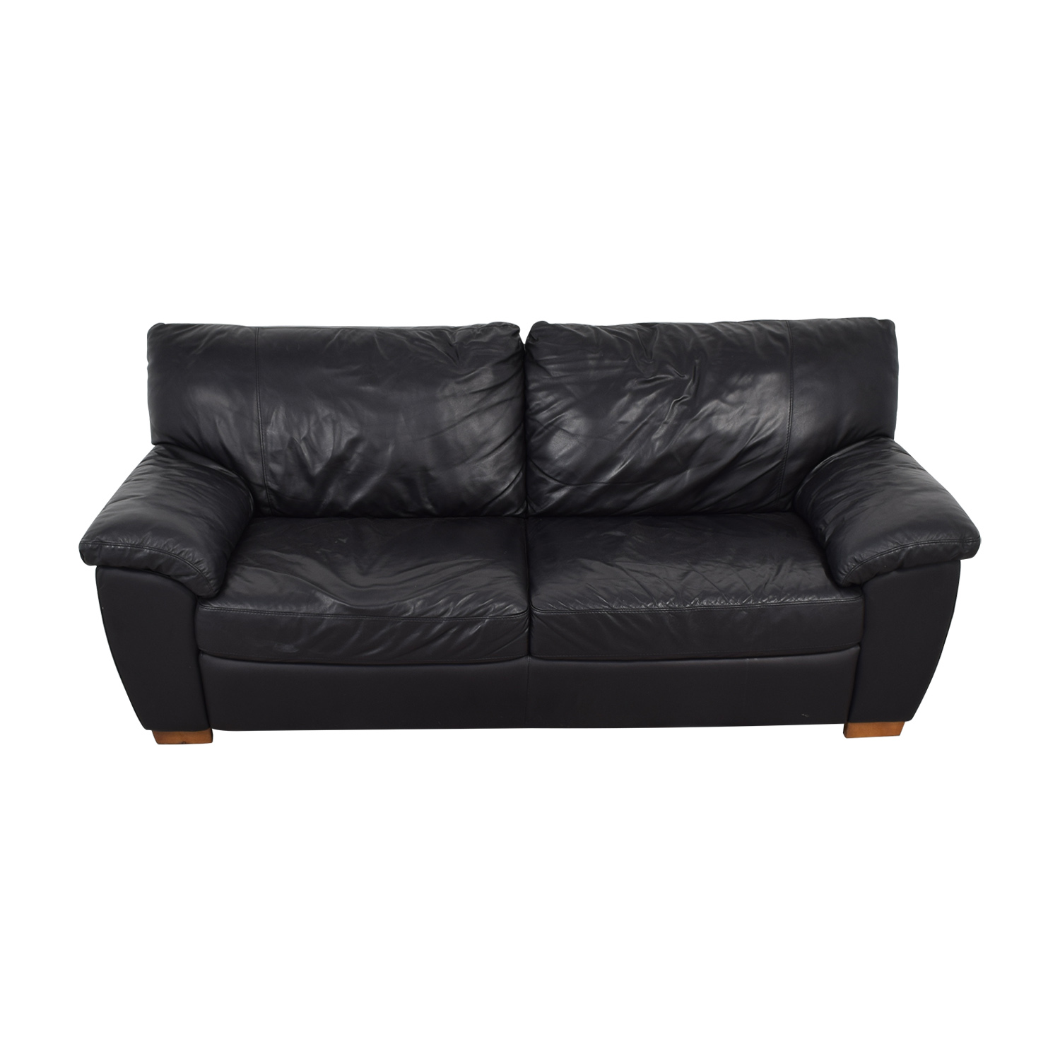 IKEA IKEA Vreta Black Leather Two-Cushion Sofa Sofas